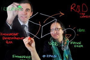 Ken Hardy, Partner and R&D Incentives Practice and Suzi Jarvis, founding Director of the Innovation Academy at UCD, at the launch of KPMG's Innovation Monitor.